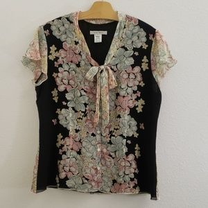 Nine West Silk Floral Tie Front Flutter Sleeve Top